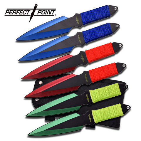 "PERFECT POINT 6 PIECE THROWING KNIFE SET 6.5"" OVERALL"