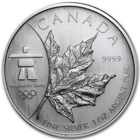 2008 RCM 1 Ounce Vancouver Olympic Edition Maple Leaf Silver Coin - Art in Coins