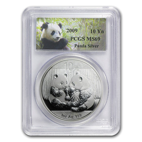 2009 1 Ounce Chinese Panda Silver Coin PCGS MS-69 - Art in Coins