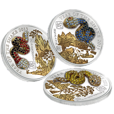 2013 Rwanda 3 X 20 Gram Year of the Snake Pave Crystal Silver Proof Coins