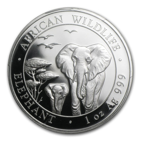 2015 Somalia 1 Ounce African Elephant Silver Coin NGC MS-69 ER