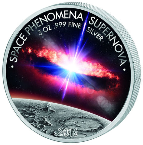 "2016 Benin 3 Ounce Space Phenomena ""Supernova"" Colored Silver Coin Art in Coins"