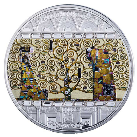 2018 Cook Islands 3 Ounce Gustav Klimt Tree of Life Masterpieces of Art Silver Proof Coin