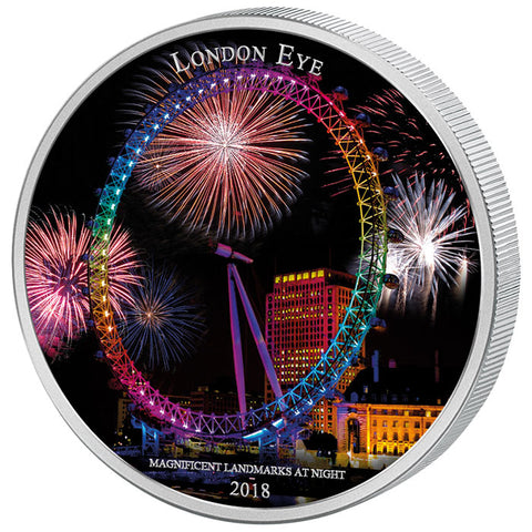 2018 Ivory Coast 2 Ounce Ultraviolet Landmarks At Night London Eye Silver Coin Set