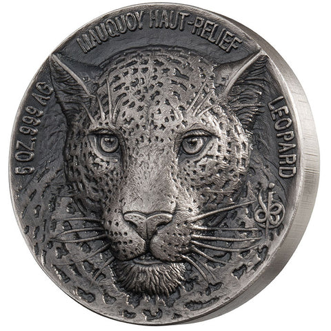 2018 Ivory Coast 5 Ounce African Big 5 Leopard Mauquoy Mint High Relief Silver Proof Coin