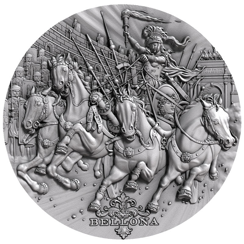 2018 Niue 2 Ounce Bellona Roman Gods High Relief Antique Finish .999 Silver Coin