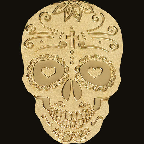 2018 Palau 1/2 Gram Dia de Muertos Golden Catrina Skull  .9999 Silk Finish Gold Coin
