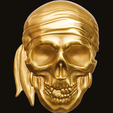 2018 Palau 1 Ounce Blackbeard Edition Pirate Skull .9999 Silk Finish Gold Coin