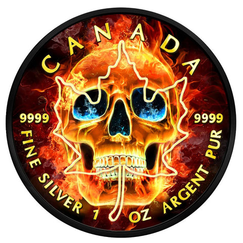 2018 Burning Skull Maple Leaf Coin