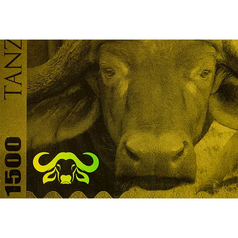 2018 Tanzania 1 Gram Big 5 Buffalo 1500 Shillings Minted Gold Bank Note
