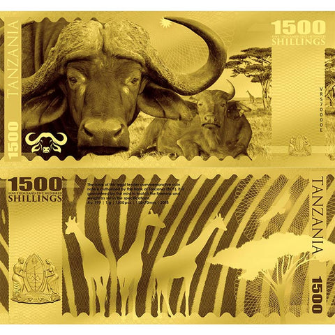 2018 Tanzania 1 Gram African Big 5 Buffalo Minted 24K Gold Bank Note