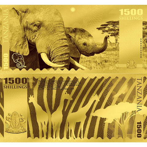 2018 Tanzania 1 Gram African Big 5 Elephant Minted 24K Gold Bank Note