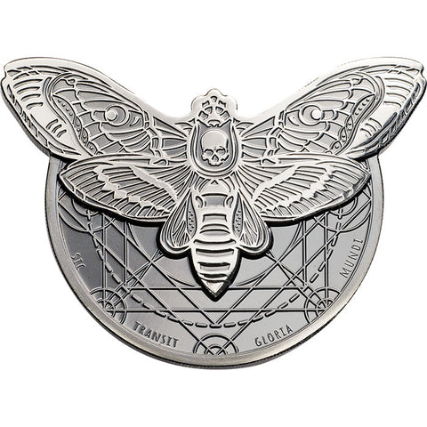 2018 Tanzania 2 Ounce Death's Head Hawkmoth .999 Black Proof Silver Coin Set