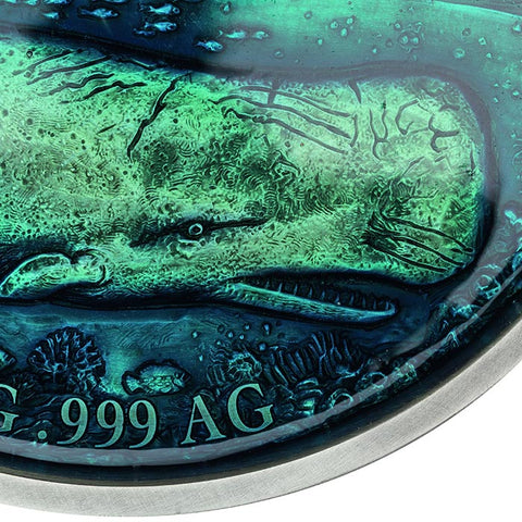 2019 Benin 1 Kilogram Deep Sea Moby Dick Enameled Antique Finish Silver Coin