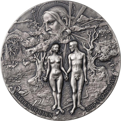 2019 Benin 5 Ounce Garden of Eden High Relief Antique Finish Silver Coin