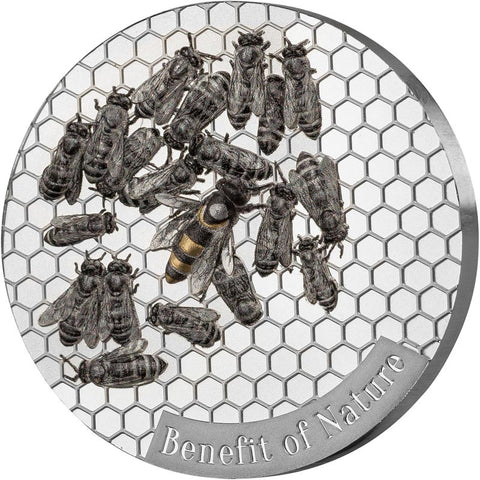 2019 Cameroon 1 Ounce Benefit of Nature - Honey Bee Prooflike .999 Silver Coin