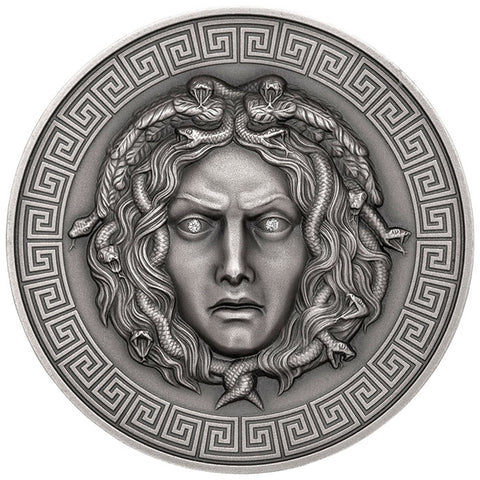2019 Cameroon 3 Ounce Medusa Ultra High Relief Diamond Inset Antique Finish Silver Coin
