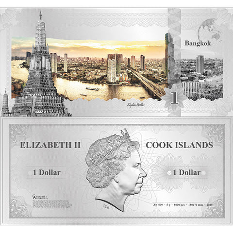 2019 Cook Islands 5 Gram Bangkok Skyline Dollar Minted Silver Bank Note