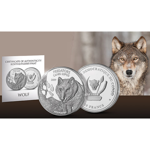2019 Democratic Congo 1 Ounce Predators Canis Lupus .999 Silver Coin