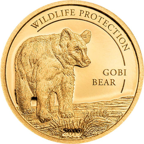 2019 Mongolia 1/2 Gram Wildlife Protection Gobi Bear .9999 Gold Proof Coin