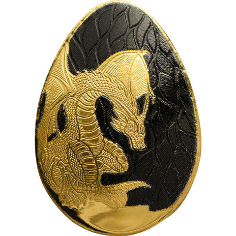 2019 Palau 1/2 Gram Golden Dragon Egg Sculptured .9999 Proof Gold Coin