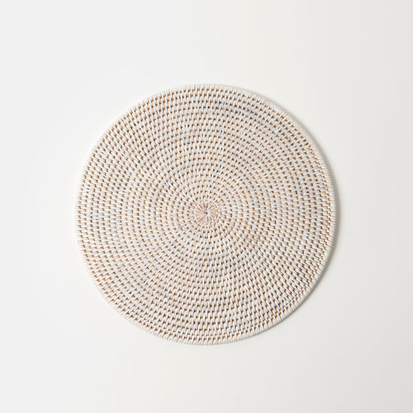 Latha Rattan Table Mat | White