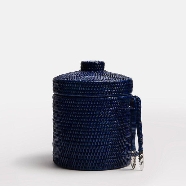 Strand Rattan Ice Bucket | Dark Blue