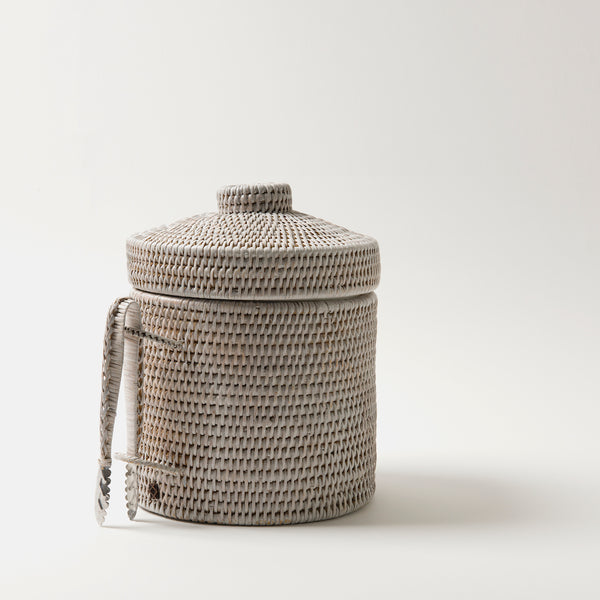 Strand Rattan Ice Bucket | White