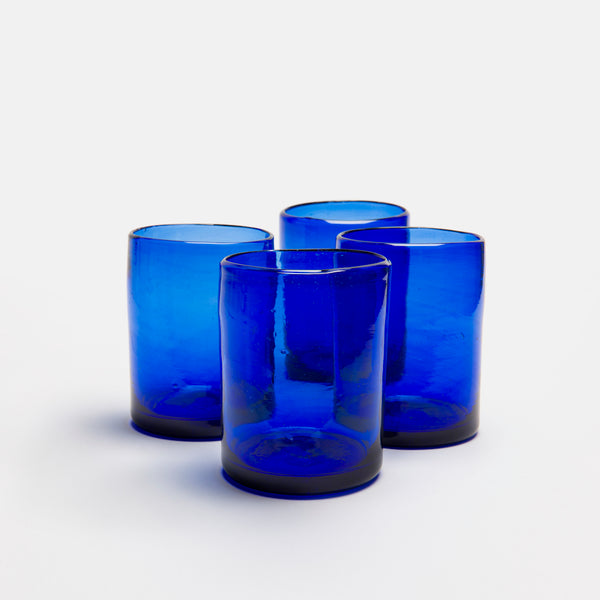 Zomi Glass Tumbler, Dark Blue, Set of 4