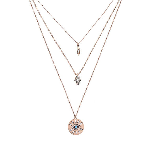 Hamsa & Evil Eye Three Layer Necklace - The Songbird Collection