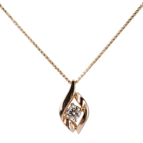 14k Yellow Gold Diamond Solitaire Pendant - Aatlo Jewelry Gallery