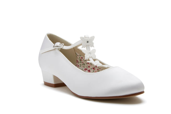 Lolly white satin butterfly detail shoes by Rainbow Club for Pink Daisy bridal