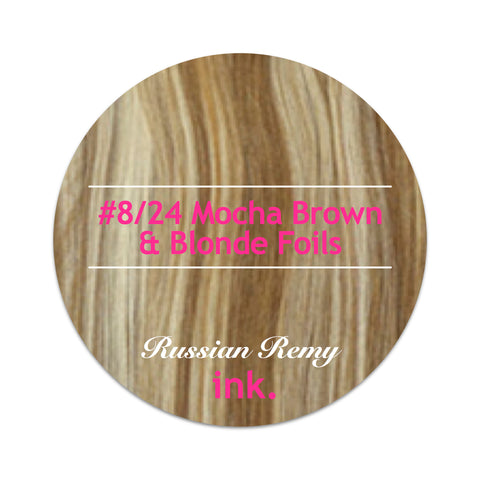 #8/24 Mocha Brown & Blonde Foils Tape Hair Extensions 22-24""