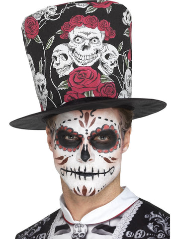 Day of the Dead Skull & Blumen Zylinder