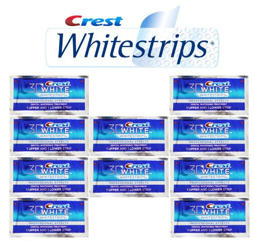 Crest Whitestrips Professional 3d White formerly Pro Effects/Premium Plus 20 strips 10 Pouches NO BOX