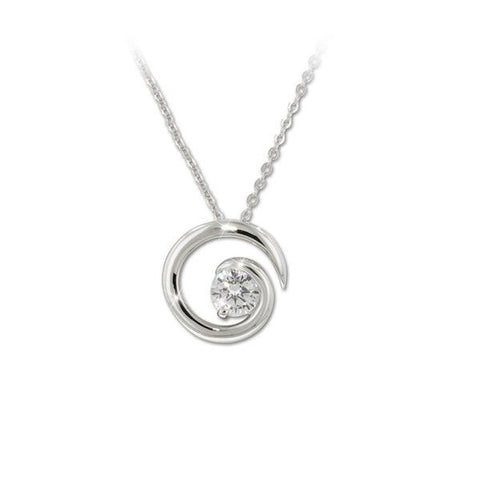 1ct Solitaire Swirl Pendant Necklace