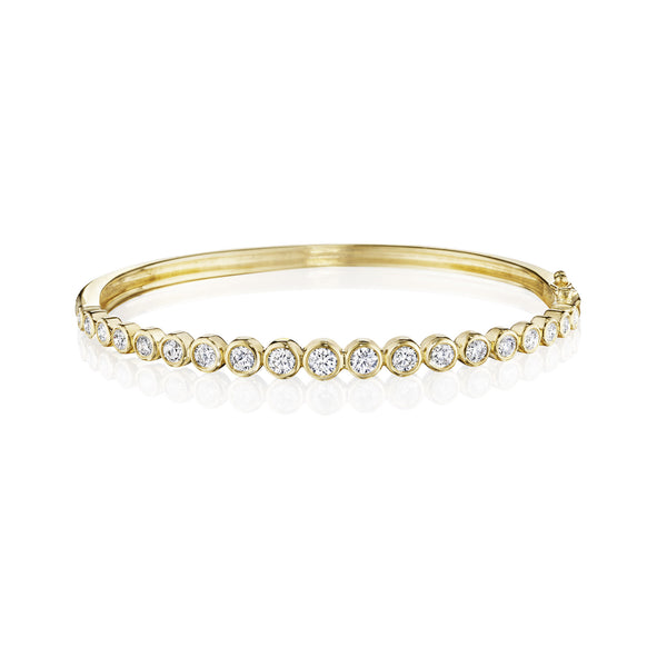 Round Bezel Tapered Bangle
