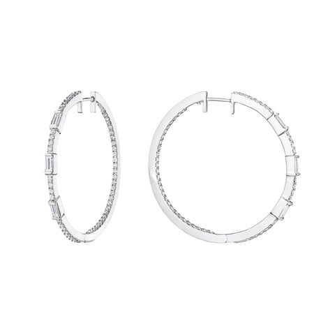 Moderne Baguette Hoop Earrings