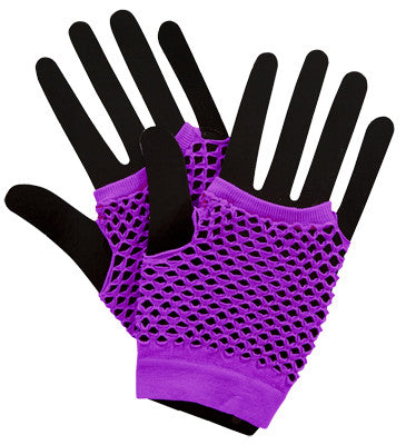 Short Fishnet Punk Gloves Neon Purple