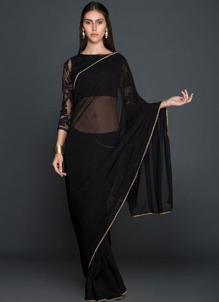 Black Georgette Saree with Embroidered Blouse - Saree Safari, Buy