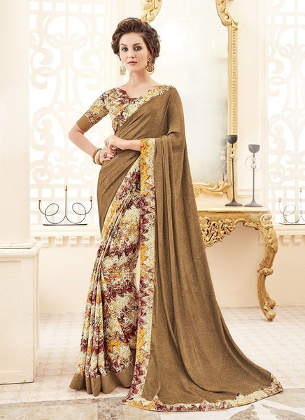 Crepe Silk Party Casual Printed Work Saree- tan - Saree Safari, Buy