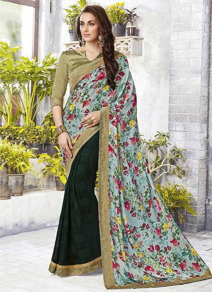 Casual floral print trim sarees - green - Saree Safari, Buy
