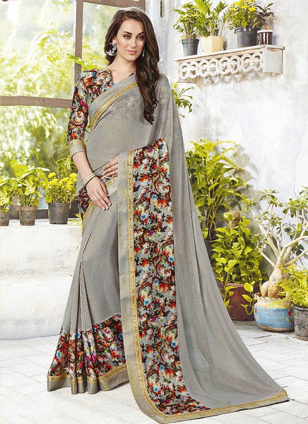 Catalog 6650: casual floral print trim sarees - gray - Saree Safari, Buy