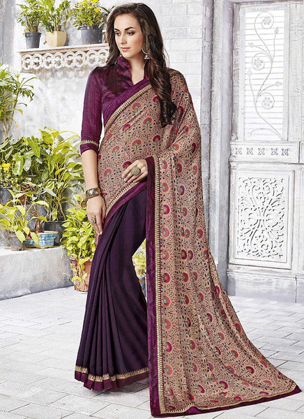 Catalog 6650: casual floral print trim sarees - wine - Saree Safari, Buy