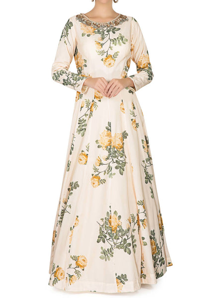 Vanilla cream anarkali gown embellished in floral print and embroidered - Saree Safari, Buy
