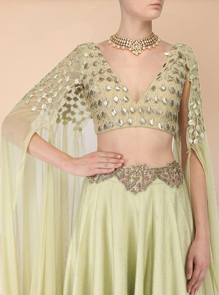 Light Green Embroidered Drape Crop Top with High Waisted Skirt - Saree Safari, Buy