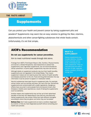 INSTANT DOWNLOAD: The Facts about Supplements Fact Sheet