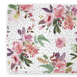 Aubrey's Burgundy and Blush Floral with dots changing pad cover