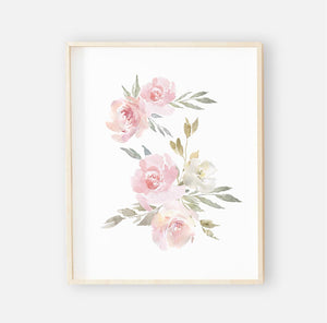 Delaney Dusty Blush Floral Digital Wall Art 3