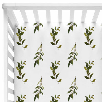 Olive Green and White Fitted Crib Sheet